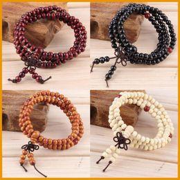 Wholesale Handmade Wooden Bracelets - Vintage Natural Wood 6MM Beads Stretch Wooden Bracelet&Bangle Men Women handmade 108 Buddha Bracelets & Bangle Free Shipping Wholesale
