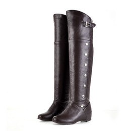 Wholesale High Heels Boots Size 43 - Autumn-Winter Women Knee-high Boots Riding-knee-high stockings on low heel shoes wide and buckle boots Large Size (43). XZ-068
