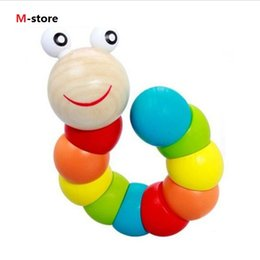 Wholesale Insects Wooden Toys Colorful - Colorful Insects Puzzles Kids Educational Wooden Toys Baby Children Fingers Flexible Training Science Twisting Worm Toys