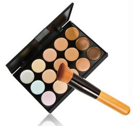 Wholesale Wholesale Full Makeup Brushes Set - HOT Professional Cosmetic Salon Party 15 Colors Camouflage Palette Face Cream Makeup Concealer Palette Make up Set Tools With Brush