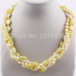 Wholesale Twisted Multi Strand Pearl Necklace - Wholesale-Nice Design Multi Twisted Strands White Pearl and Yellow Lemon Stone Necklace