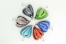 Wholesale Murano Stripe - Mixed Color Lots Love Heart stripe murano glass pendant Fit necklace jewelry pdt5 FREE SHIPPING