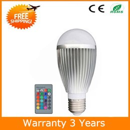 Rgb led spot light 9w online-E27 RGB Bombilla LED remota 9W Cambio de color Spot Light 70PCS 3 años de garantía CE RoHS Envío gratis