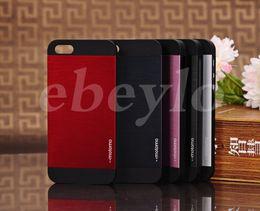 Wholesale Aluminium Iphone5 - For iPhone 4 4S 5 5S Luxury Brushed Aluminium Motomo Metal Slate Rubber Hard Back Case Cover for iphone5 iphone4