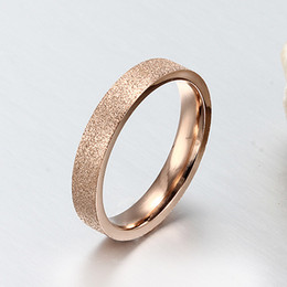 Wholesale Dull Gold - High Quality Titanium Steel Jewelry 18K Gold Plated Dull Polish Women Fashion Rings 4mm Size 5-10