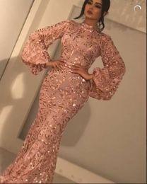 Wholesale kim ball gown - Evening dress Yousef aljasmi Kim kardashian Long sleeve Pink Mermaid Puffy sleeve Almoda gianninaazar Kylie Jenner Zuhair murad