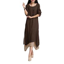 Wholesale Wholesale Linen Clothing Women - Wholesale- 5XL Fashion Women Clothing Cotton Linen Vintage Dress 2017 Summer Women Casual Loose Boho Long Maxi Dresses Vestidos