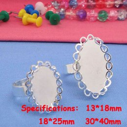 Wholesale Silver Ring Blank Cameo - New Arrival 50pcs Wholesale Silver Plated inner 13*18 18*25 30*40mm Cameo Setting Cabochons Tray Ring Blank Settings