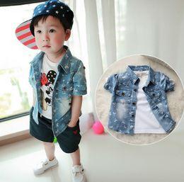 Wholesale Boys Cowboy Shirt - 2015 Summer New Style Clothing Boys Cowboy Short Sleeve Shirt Korean Baby Kids Cartoon Mickey Shirt Children Shirts Clothes 100-140 J3487