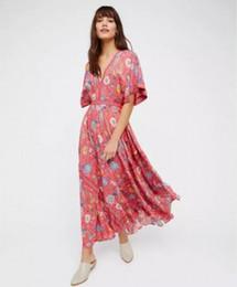 Wholesale Women S Long Tutu Dress - Wholesale- 2017 Summer boho women casual floral printed beach dress sexy V neck halterneck party vestidos long tutu dresses #T242