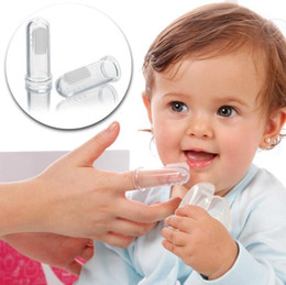 Wholesale kids wholesale toothbrushes - Pretty Baby kids baby infant soft silicone finger toothbrush Newborn baby toothbrush finger Rubber Clean Massager Training Brush
