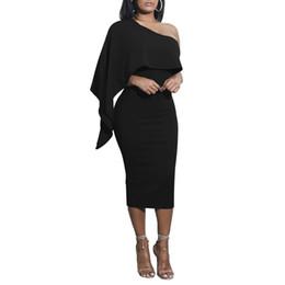 Wholesale One Shoulder Clubwear Dress Black - 2017 New Arrival Hot Fashion 6 Colors One Shoulder Asymmetry Ruffled Sleeveless Summer Dresses Sexy Dress Women Warm Clubwear Clothing