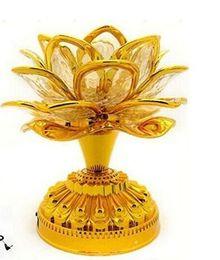lotus lumière bouddha Promotion Batterie d'or Bouddha Musique Haut-parleur Lumière Fleur Fantaisie Coloré Changement LED Fleur De Lotus Romantique Décoration De Mariage Lampe De Fête