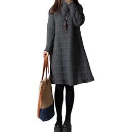 Wholesale Ladies Long Winter Robe - Wholesale-Winter Dress 2016 Autumn Women Vintage Long Sleeve Vestidos Ladies Casual Loose Solid Turtleneck Party Dresses Plus Size Robe
