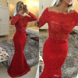 Wholesale Indian Occasion Dresses - Arabic Indian 2016 Red Lace Mermaid Evening Dresses Long Sleeves Bateau Pearls Prom Party Dress Sheer Formal Evening Wear Occasion Gowns
