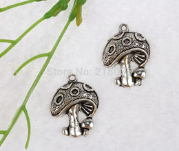 Wholesale Mushroom Charms Pendants - 100pcs Vintage Silver Mushroom Alloy Charms Pendant 23*19mm Accessories For Bracelets Necklaces Fashion Jewelry Findings DIY Q289