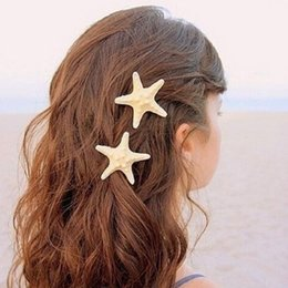 Wholesale Cheap Holiday Accessories - 2016 Cheap Price beach hair Fashion personality of pure natural starfish beach holiday edge clip hair accessories hairpin