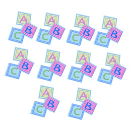 Wholesale Iron Applique Letters - 10PCS Square Letter ABC Embroidery Patches for Clothing Bags Iron on Transfer Applique Patch for Garment Jeans DIY Sew on Embroidery Badge