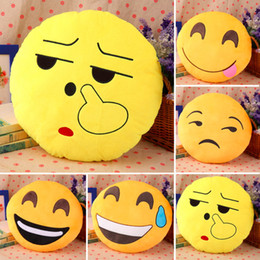 Wholesale Doll Pretty - Wholesale- Hot! 1pc 32cm Pretty Soft Emoticon Round Cushion Pillow Stuffed Plush Toy Doll Pillow New Sale