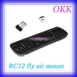 Wholesale Rc12 Fly Mouse - Wholesale-2pcs lot Measy RC12 2.4G Mini wireless touchpad keyboard fly air mouse for Android TV BOX Dongle mini PC TV Player