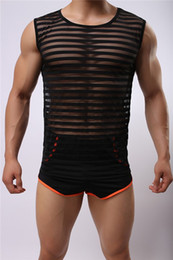 Wholesale Sexy Black Flexible - Sexy Flexible Elastic polyester Nylon stripe round neck vest see through fitness man Breathable mesh undershirt Tank Tops