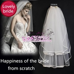 Wholesale Double Layer Long Veils - 2015 Real New Arrival Freeshipping White Wedding Veils Long Bridal Veil Wedding Accessories Double Layer Hemming Comb All-match