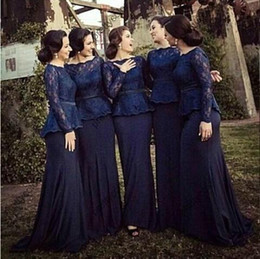 Wholesale Juniors Bridesmaid Chiffon Dresses - 2017 Elegant dark navy mermaid bridesmaid dresses bateau custom made with long lace sleeves sweep train mermaid evening prom gowns