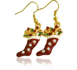 Wholesale Personalized Christmas Ornament - 2017 New diamond socks Christmas earrings hot Europe and the United States style popular Christmas ornaments personalized holiday earrings