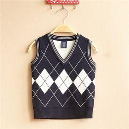 Wholesale Shape Clothes - 2016 Hot Sale Spring   Autumn 2-10y Black White Striped 5 Pieces lot New Winter Clothing Boy Sweater Vest Diamond Shaped V Collar Cotton