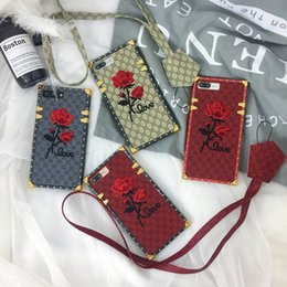 Wholesale Iphone Handmade Hard Case - 3D Vintage Embroidery Rose Case Art Handmade Flower Design With Lanyard Shockproof Hybrid Leather+TPU Hard Cover For iPhone X 8 Plus 7 6 6S