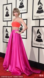 Wholesale Evening Ceremony Dress - 58th GRAMMY Awardds Taylor Swift Two Pieces Evening Dresses Sexy A line Fuchsia Ceremony Red Carpet Celebrity Dress Custom made