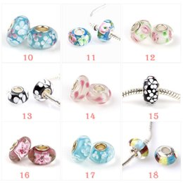 Wholesale Murano Glass Bead Charms - Newest fashion loose beads 925 Sterling Silver Murano Glass Charm Bead For Pandora Bracelet free shipping