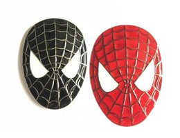 Wholesale Spiderman Badges - 3D Spider Man Spiderman Face Mask Badge Emblem Decal Car Sticker Car Styling Metal Adhesive Black Red Color Free Shipping
