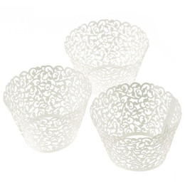 Wholesale Baking Cups Liners - Wholesale-Kimisohand 100 Filigree Little Vine Lace Laser Cut Cupcake Wrapper Liner Baking Cup