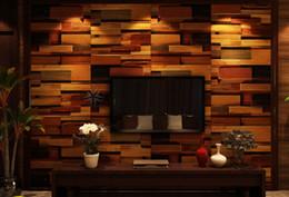 Wholesale Brown Tiles Kitchen - Nature ancient style wooden mosaic wall tiles building supplies mosaic tile art projects mosaic tile backsplash kitchen bar TV background
