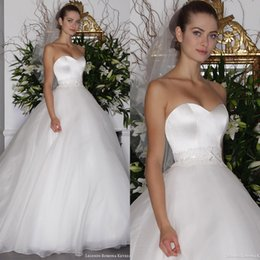 Wholesale Simple Elegant Cheap Ball Gowns - Simple Elegant Wedding Dresses New Arrivals A Line Ball Gown Sweetheart Sleeveless Lace Satin Organza Cheap High Quality Bridal Gowns