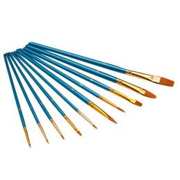 Wholesale Acrylic Paint Art Supplies - S5Q 10 Pcs Nylon Hair Acrylic Watercolor Art Supplies Painting Gouache Brush Set AAAFEQ