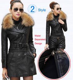 Wholesale Plus Size Woman Leather Jacket - Wholesale- Leather Coat women New Style Waist Separated Desigan Women Fur Collar Leather Jacket Women suede Coat Female coat plus Size