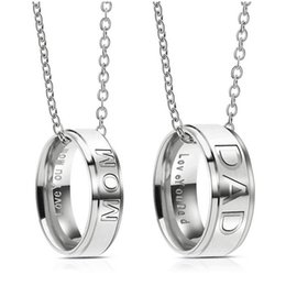 Wholesale Rings For Mothers - Fashion Stainless Steel DAD MOM Ring Necklace Engraved Love You Letters Jewelry Best Gift For Mother Father Christmas Gifts