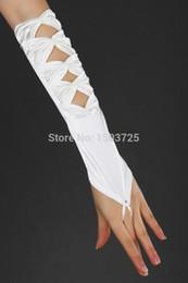 Wholesale Ivory Satin Wedding Fingerless Gloves - In Stock White or ivory Brand new Satin gauze Finger elbow Length Gloves Bridal Wedding Gloves
