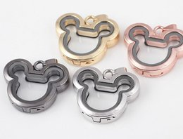 Wholesale Glass Float Free Shipping - Hot Sale 32*36mm Mickey Head Magnetic Glass Memory Floating Charms Living Locket Fine Stainless Steel Jewelry Different Colors Free Shipping