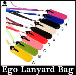 Wholesale Ego T Lanyard Bag - Colorful E Cig Battery PU Leather Pouch Ego T Portable Carrying Bag Necklace Lanyard Bag For E Cigarette Ego-c Twist Ego-t