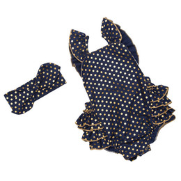 Wholesale Headband Navy - kids clothes navy gold dots romper ruffle baby girls romper set halter backless baby girls outfit with headband