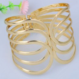 Wholesale Metal For Jewerly - Wholesale European Elegnet Jewerly Gold Plated Adjustable Metal Cuff Bangles No Logo Bracelet For Her Christmas Gift 0065