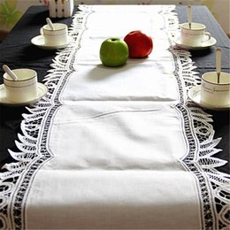 """Wholesale Table Runner Crochet Wholesale - 16x70"""" European Classical Home Decor white crochet lace table runners Dresser Scarf for wedding Banquet Hand Embroidery Table Runner"""