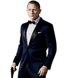 Wholesale Pinstripe Mens Clothing - James Bond dark Blue Groom Tuxedos Jacket+Pant+Tie Mens Fashion Tux Tuxedos Boyfriend Blazer Bridegroom Mens Clothing Speech
