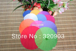 Wholesale Wedding Parasol Fan - 10pcs lot free shipping Chinese silk parasol wedding umbrella with several colors available
