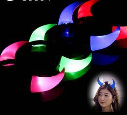 Wholesale Devil Horns Light - 400PCS Free Shipping DHL Halloween Costume Red LED Light Ladies Devil Horns Headband Halloween Light On Up Devil Horn Custome Red Headband