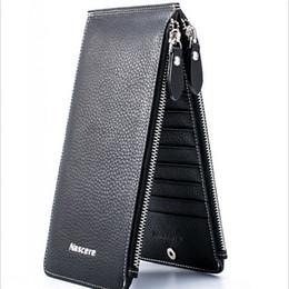 Wholesale Credit Card Long Slim Holder - 100% Pure Leather 20 Card Slot Slim Wallets & Holders Coffee Black Orange Khaki Men Credit Card Wallet free shipping
