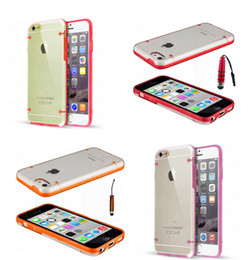 Wholesale Glow Case Iphone 4s - Glow in Dark Luminous Hybrid Hard Clear transparent Crystal Plastic Soft TPU Gel cover case cases For Iphone 5 SE 5SE 5S 5C 4 4S 10PCS 20PCS